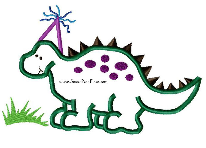 Birthday Dinosaur with Grass Applique Embroidery Design
