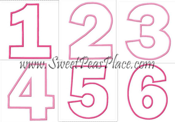 Birthday Number Set Applique Embroidery Design