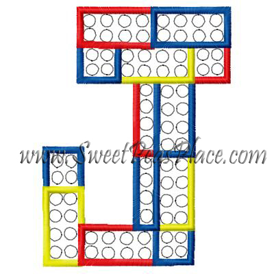 Block Letter J Applique Embroidery Design