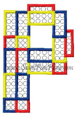 Block Letter P Applique Embroidery Design