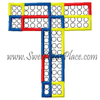 Block Letter T Applique Embroidery Design