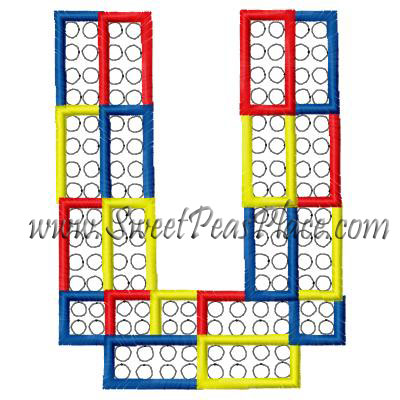 Block Letter U Applique Embroidery Design