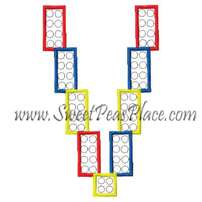 Block Letter V Applique Embroidery Design