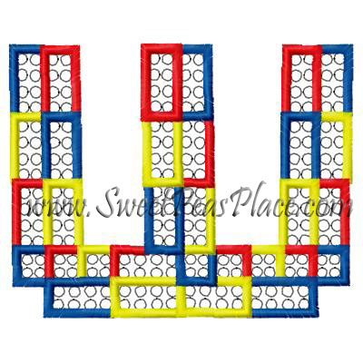 Block Letter W Applique Embroidery Design
