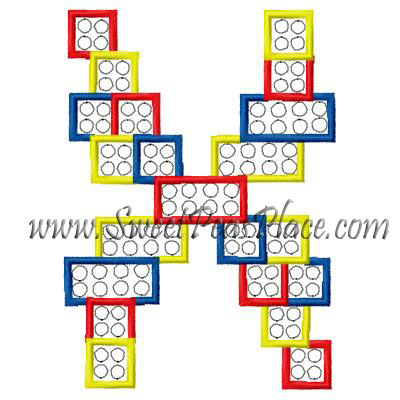 Block Letter X Applique Embroidery Design