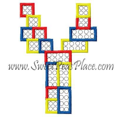 Block Letter Y Applique Embroidery Design
