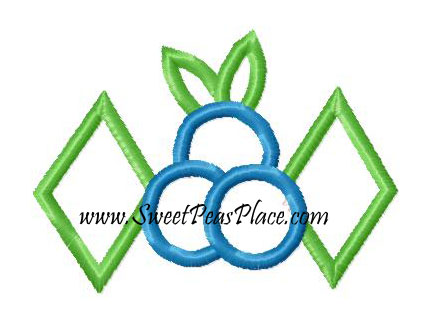 Blueberry with Diamonds Applique Embroidery Design