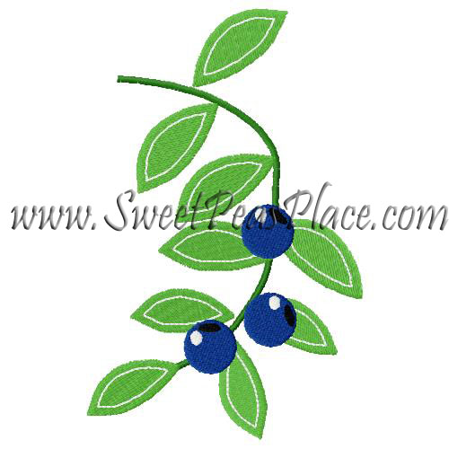 Blueberry Vine Embroidery Design