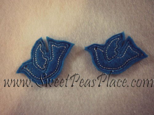 Blue Bird For Felt 3 Applique Embroidery Design