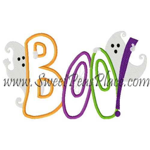 Boo with Ghost Applique Embroidery Design