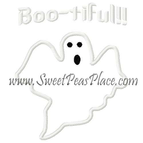 Boo-Tiful Ghost Applique Embroidery Design