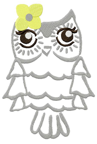 Bright Owl Embroidery Design