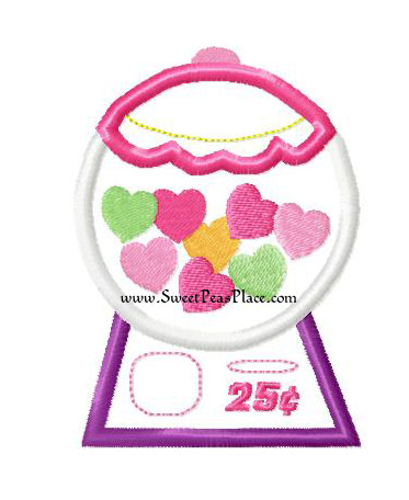 Bubblegum Machine with Hearts Applique Embroidery Design