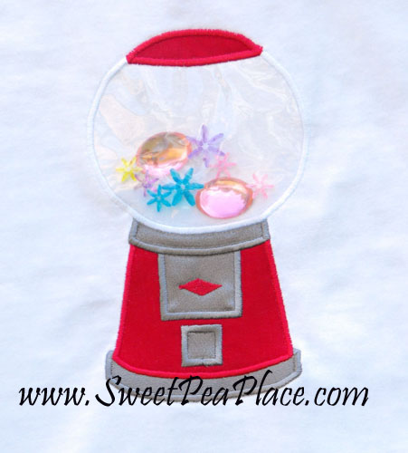 Bubblegum Machine with Vinyl Applique Embroidery Design