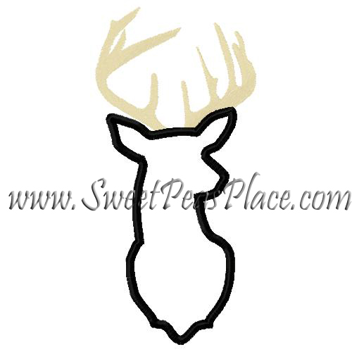 Buck Silhouette Applique Embroidery Design