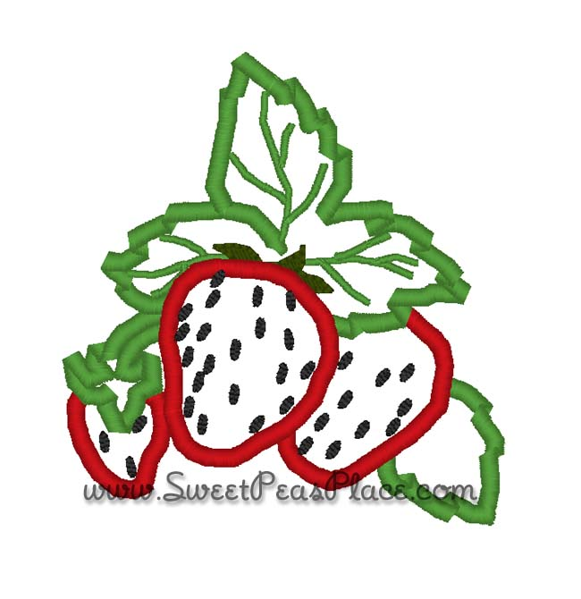 Bunch of Strawberries Embroidery Applique Design