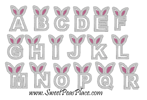 Bunny Alphabet Applique Embroidery Design