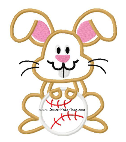 Bunny with Baseball Applique Embroidery Design