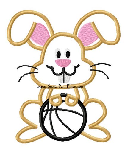 Bunny with Basketball Applique Embroidery Design