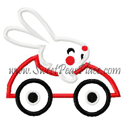 Bunny in Race Car Applique Embroidery Design