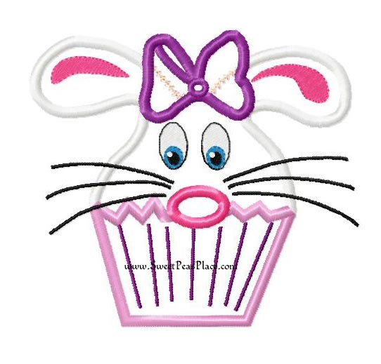 Bunny Cupcake Applique Embroidery Design