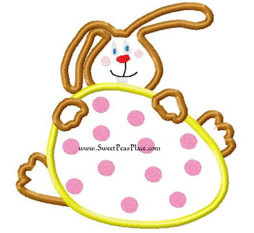 Easter Bunny with Egg Applique Embroidery Design