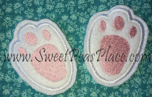 Easter Bunny Feet for Felt Applique Embroidery Design