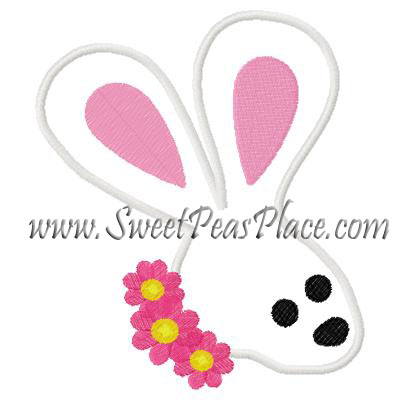 Bunny with Flower Head Applique Embroidery Design