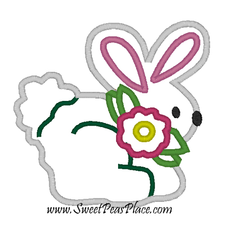Bunny with Flower Applique Embroidery Design