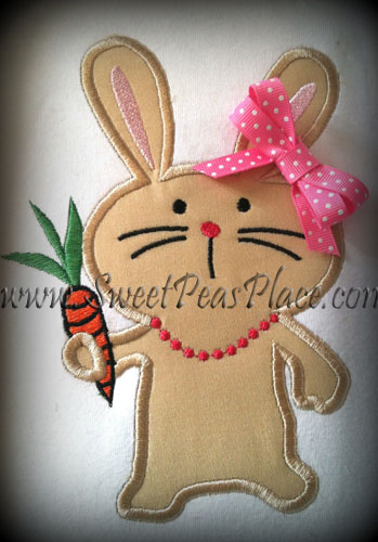 Bunny with Necklace Applique Embroidery Design
