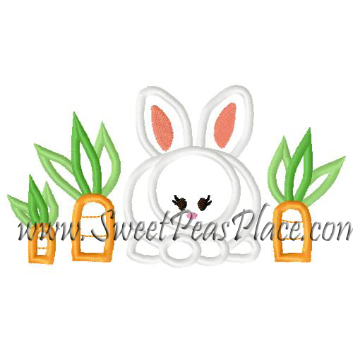 Bunny with Carrots Applique Embroidery Design