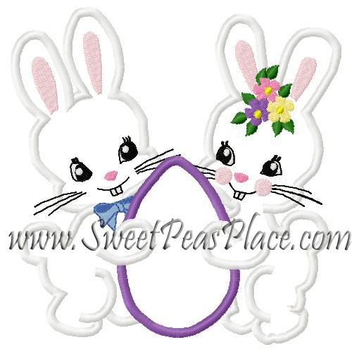 Bunnies with Egg Applique Embroidery Design