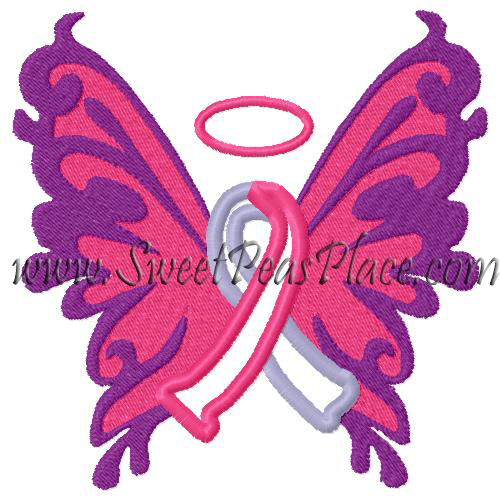 ButterFly Awareness Applique Embroidery Design