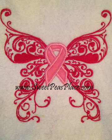 ButterFly Cancer Ribbon Applique Embroidery Design