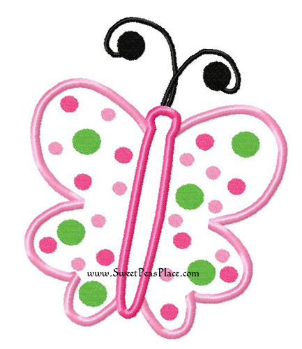 Butterfly Polka Dot Applique Embroidery Design