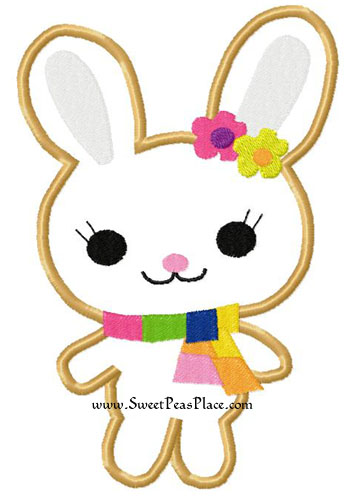 Bunny All About Buttons Applique Embroidery Design
