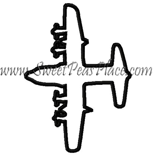 c130 Airplane Applique Embroidery Design
