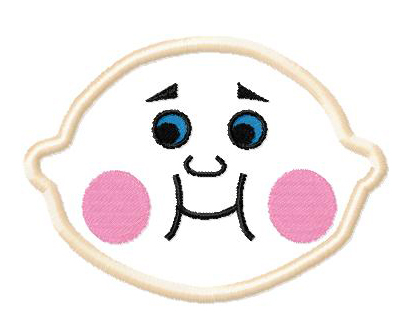 Baby Face Applique Embroidery Design