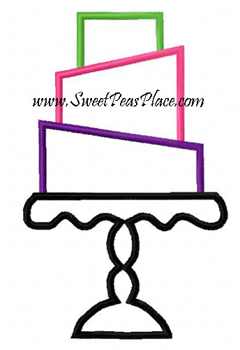 Cake with Platter Applique Embroidery Design