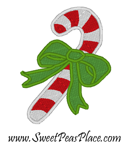 Candy Cane Bow Filled Embroidery Design