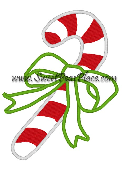 Candy Cane with Bow Applique Embroidery Design