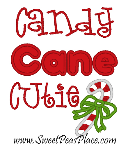 Candy Cane Cutie Applique Embroidery Design