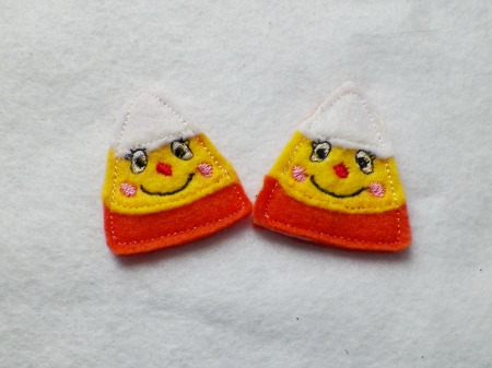 Candy Corn Silly Face Felt Applique Embroidery Design