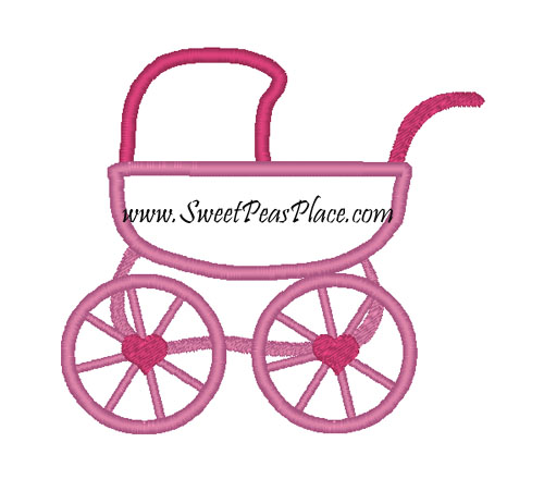 Baby Carriage Applique Embroidery Design