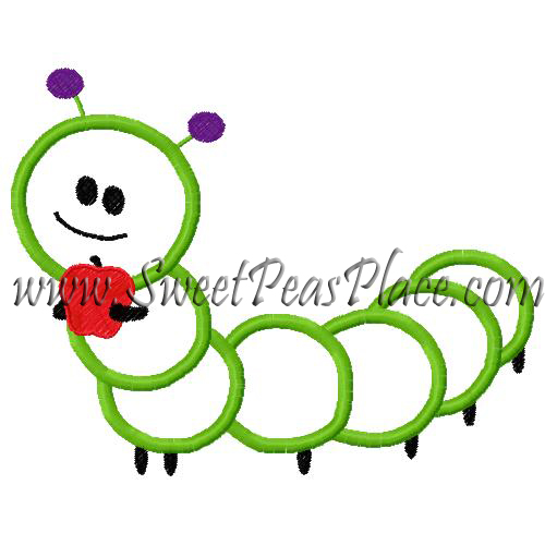Caterpillar with Apple Applique Embroidery Design