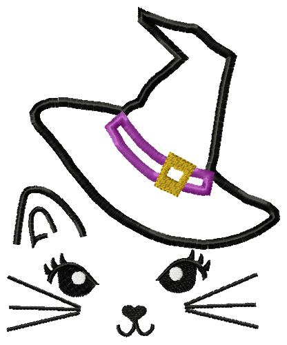 Cat Halloween Face with Witches Hat Applique Embroidery Design