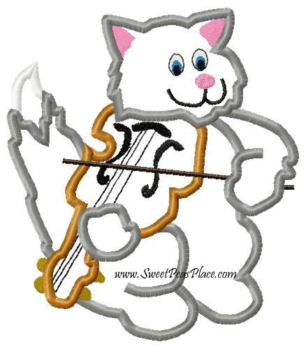 Cat and The Fiddle Applique Embroidery Design