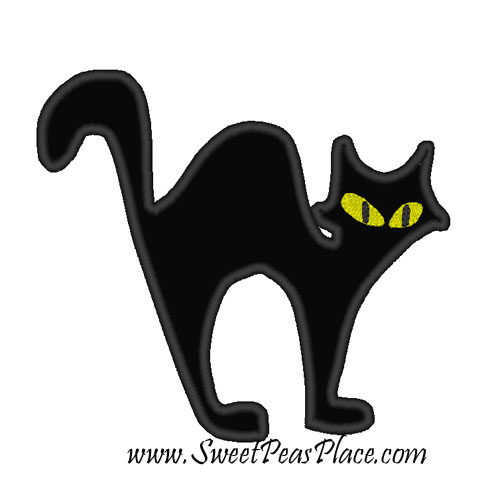 Halloween Cat Applique Embroidery Design