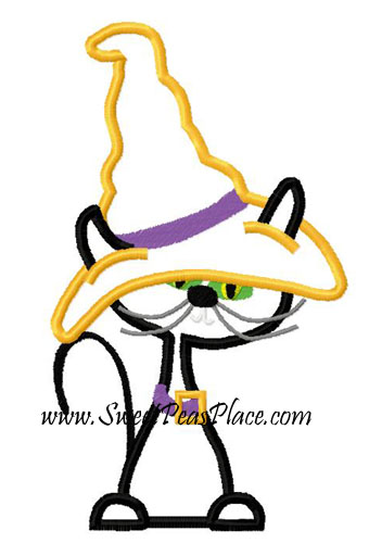 Cat with Witch Hat Applique Embroidery Design