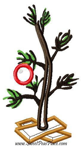Single Ornament Christmas Tree Applique Embroidery Design